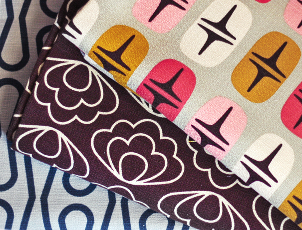 Mod retro barkcloth fabric from Cloud9 Fabrics