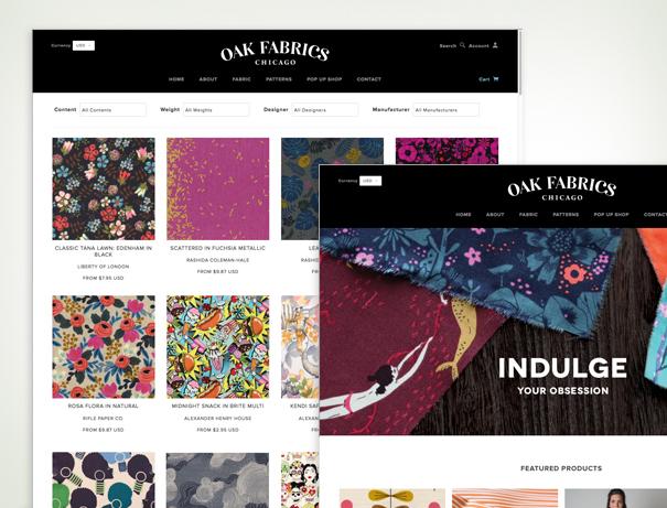 Oak Fabrics Chicago fabric store website