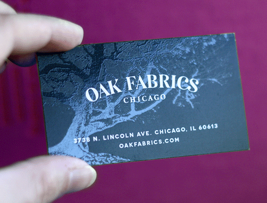 Oak Fabrics business card