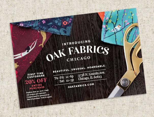 Oak Fabrics direct mail postcard coupon