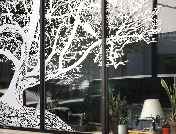 Oak Fabrics fabric store tree window decal