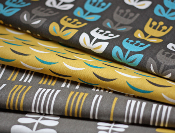 Midcentury retro fabric design