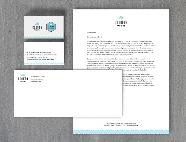 Cloud9 Fabrics brand identity stationery