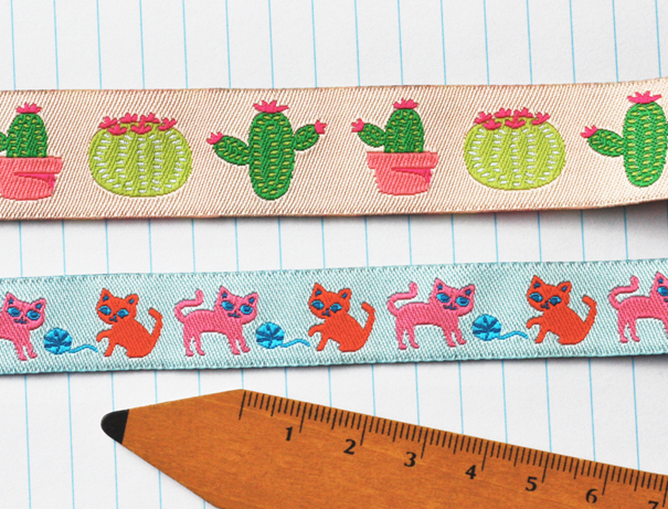Cute cactus and kitten ribbon