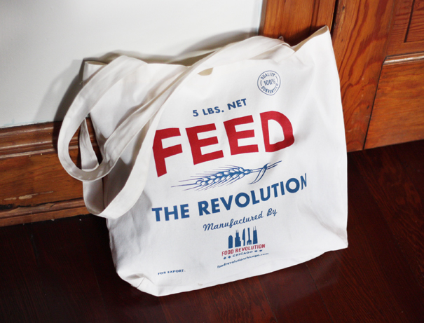Feed the Revolution feed sack tote bag