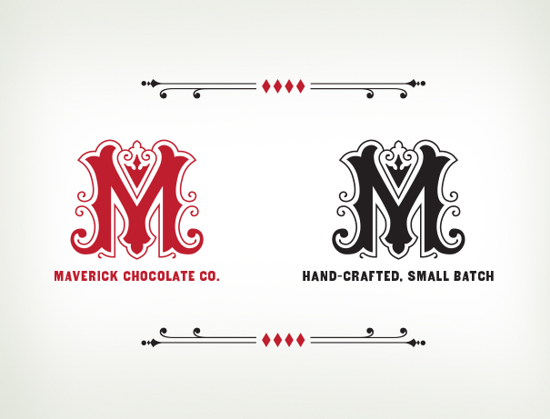 M monogram ornate logo