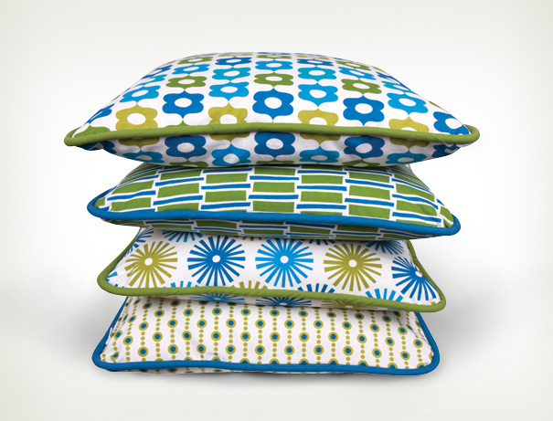 Mod retro green blue fabric
