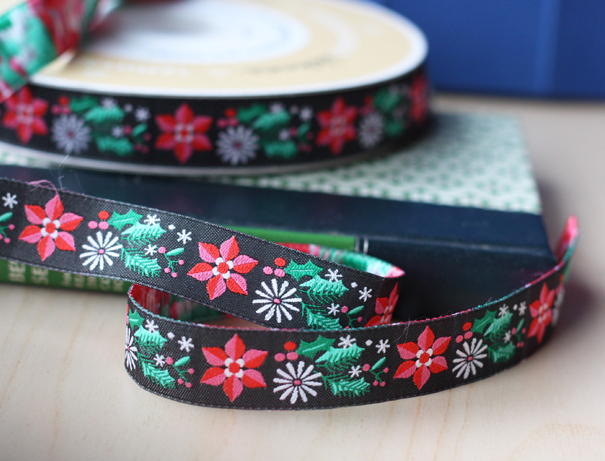 Modern poinsettia ribbon surface design