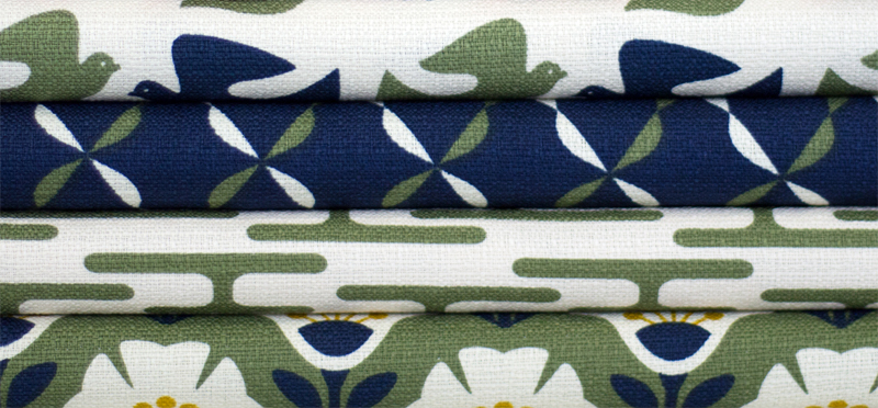 Textile designs by Jessica Jones in green navy