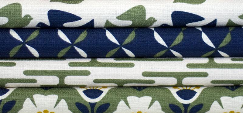 Textile designs by Jessica Jones in green navy