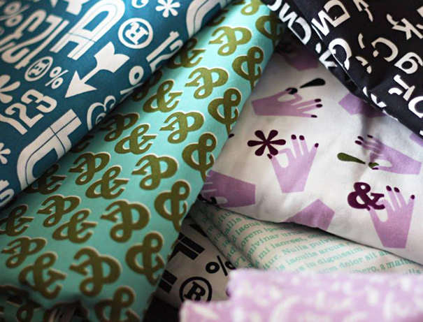 Typography fabric with words and letters