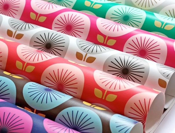 rolls of bright wallpaper