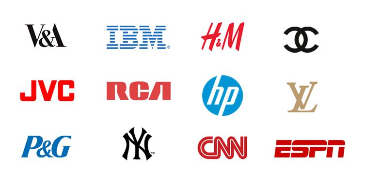 Types of logos: lettermarks, wordmarks, pictorial marks